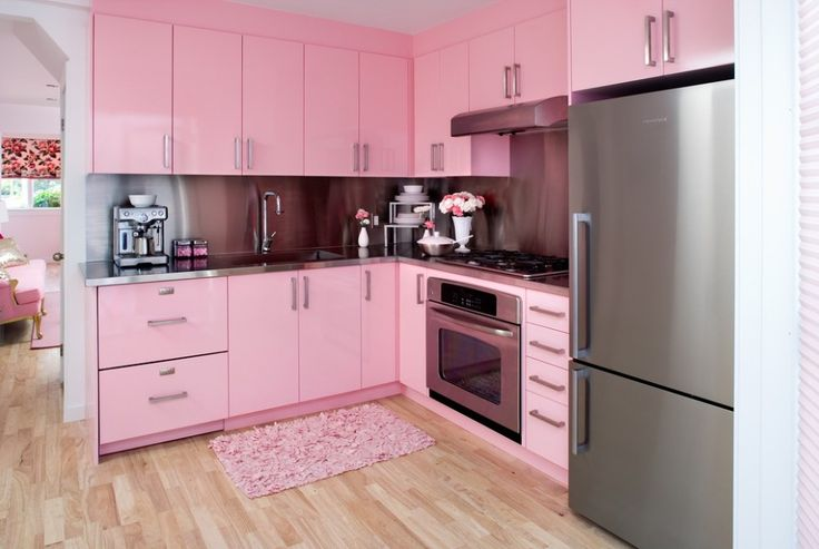 Kitchen:Pink Kitchen Cabinet Single Handle Faucet Stainless Stell Vase Flowers Refrigerator Two Door Bottom Mount Built In Coffe Cup Dispenser Smooth Cooktop And Oven Fashionable Rose Pink Kitchen With An Charming Design