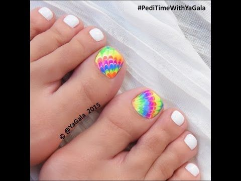 Dry marble toe nail art / Педикюр: сухой марбл - YouTube