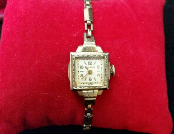 SALE Bulova Swiss 1930's Ladies 10K Rolled Gold Plate Art Deco Watch with Red Velvet Pearl Case Band Marked 1/20 12k Gold Filled Vintage by ColettesVintage on Etsy