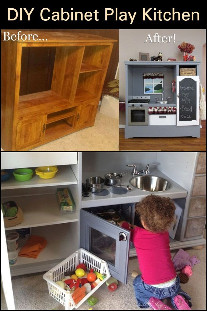 Turn An Old Tv Cabinet Into A Play Kitchen Diy Kids Kitchen