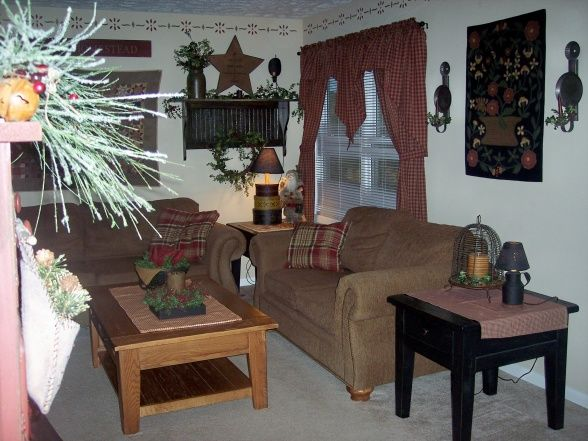 Primitive christmas living room i love to decorate my living room