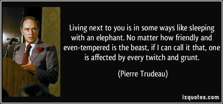 """""""Living next to you is in some ways like sleeping with an elephant …"""" — Pierre Trudeau - More at: http://quotespictures.net/20521/living-next-to-you-is-in-some-ways-like-sleeping-with-an-elephant-pierre-trudeau"""