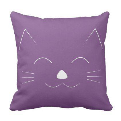 Cute Cat Face purple Throw Pillow - cat cats kitten kitty pet love pussy