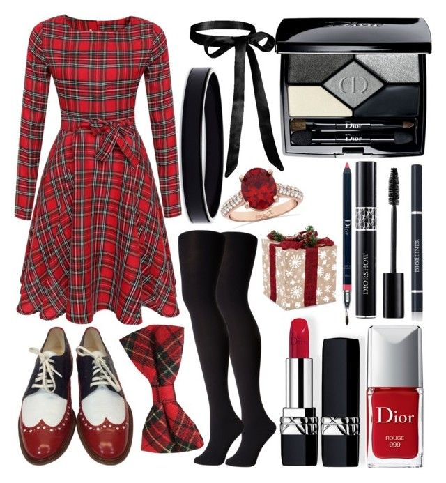 christmas dinner by slytheriner on Polyvore featuring Falke, Robert Clergerie, Allurez, L. Erickson and Christian Dior
