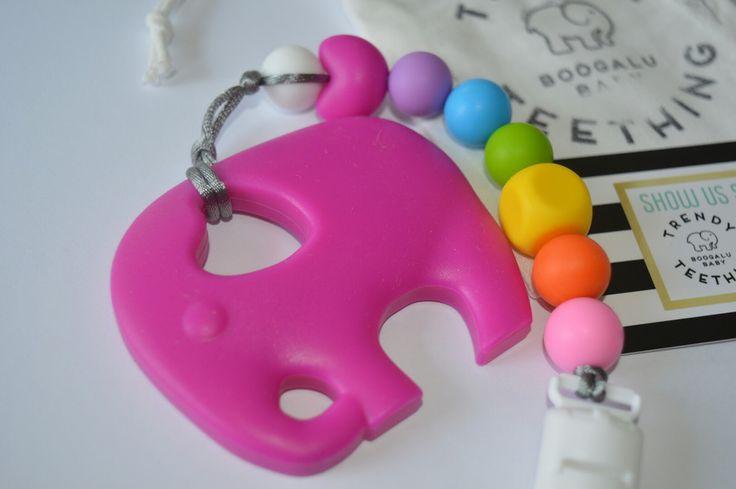 Rainbiw clip with elephant teether