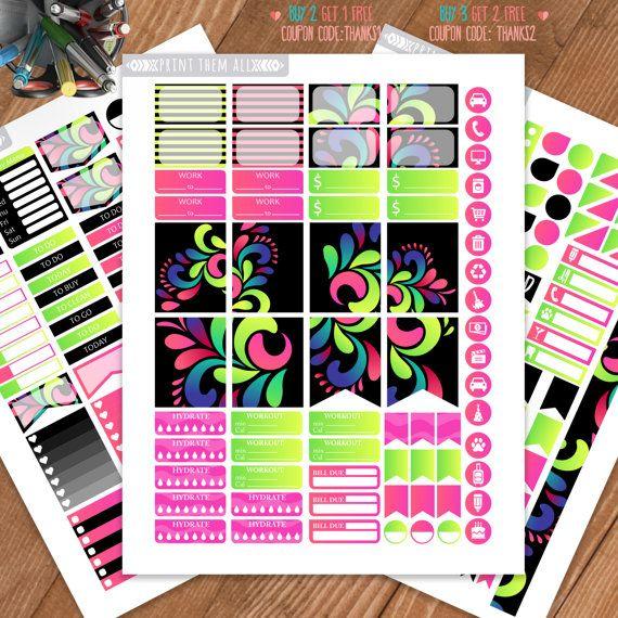 Neon-Black ,Swirls, Planner Stickers Printable, Weekly/Monthly Kit, Erin Condren…