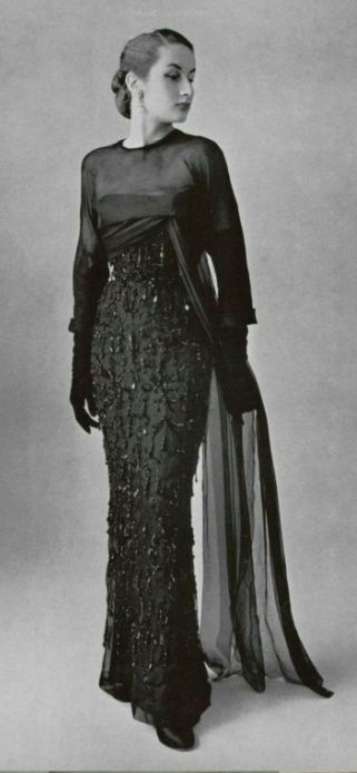 1951 - Balenciaga embroidered and sequined gown with tulle train