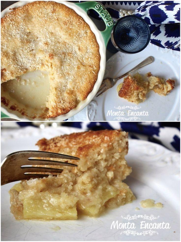 Bolo rapidinho de abacaxi, leva iogurte na massa, cubinhos frescos de abacaxi e uma caldinha de brigadeiro branco com coco celestial. Bolo torta doce invertido!