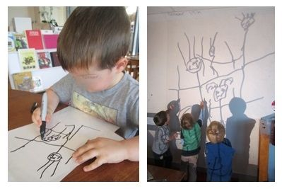 Preschoolers explored light and proportions with a classic over head projector.