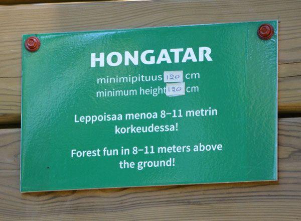 Seikkailupuisto Huipun vihreä rata Hongatar