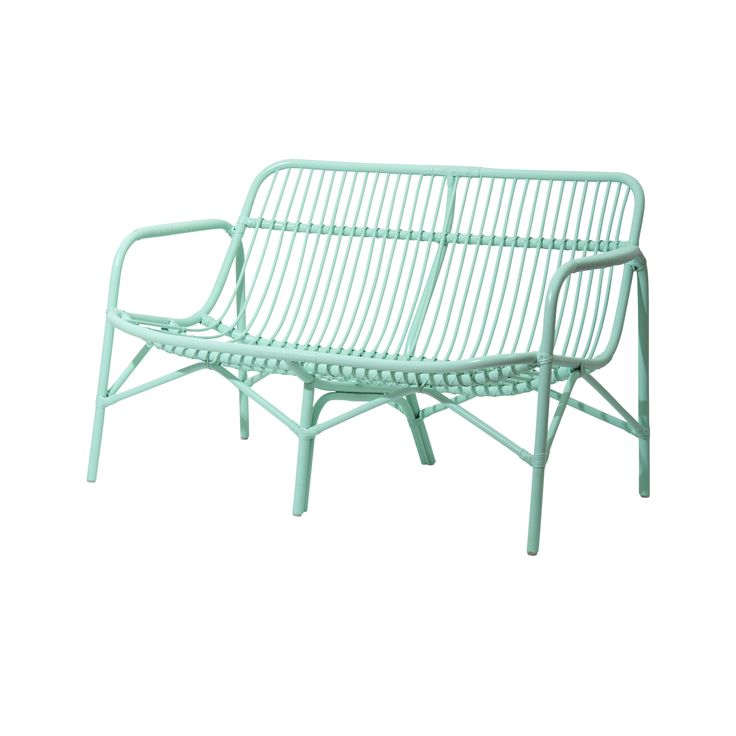 Rice DK Cane 2 Seater Sofa in Mint