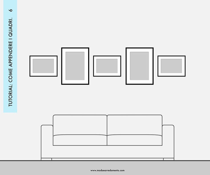 Decorare le pareti del soggiorno con foto e quadri: composizione 6 - idee da copiare.