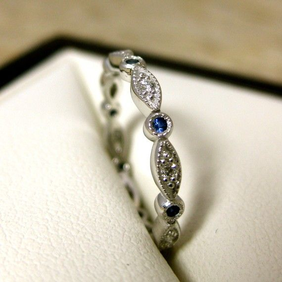 Elegant Diamond Blue Sapphire Wedding Ring In 14K White Gold With Shield And Round Bezels Eternity Size 4