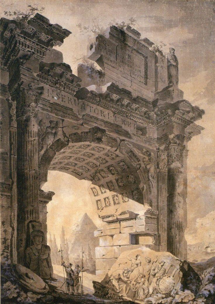 Hubert Robert(ユベール・ロベール), セプティミウス・セウェルス門のヴァリエーション (1756)