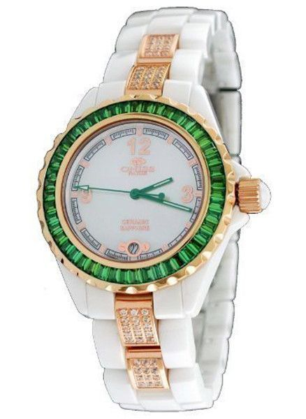 Oniss ON8890-LRG White/Green Women's Green Baguette Ceramic Watch