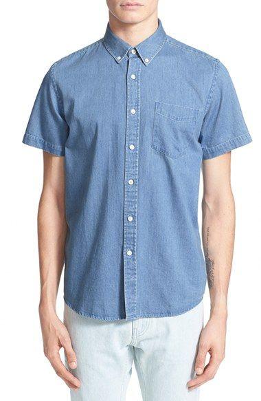 Saturdays NYC 'Esquina' Trim Fit Short Sleeve Denim Shirt