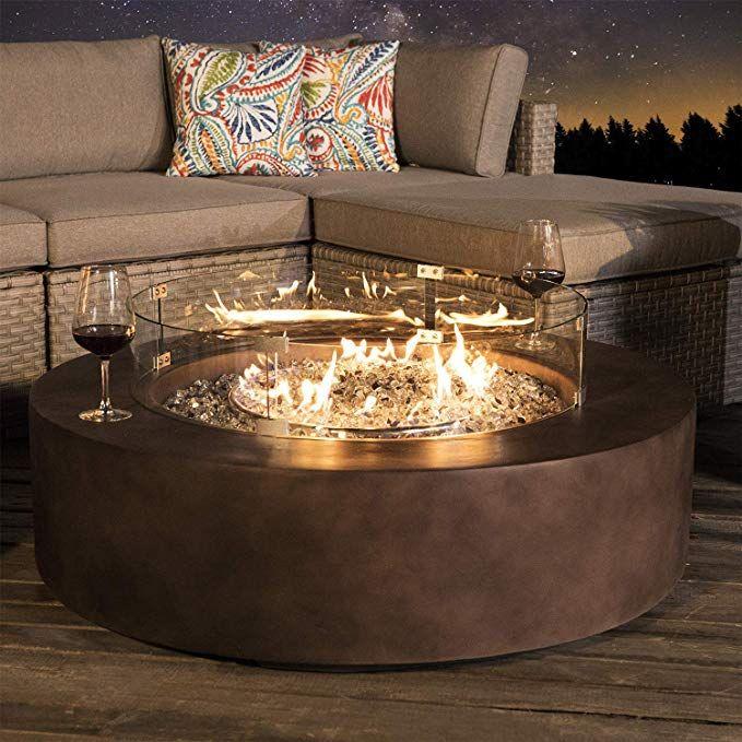 Amazon.com: COSIEST Outdoor Propane Fire Pit Coffee Table w Dark Bronze 42-inch Round Bas ...