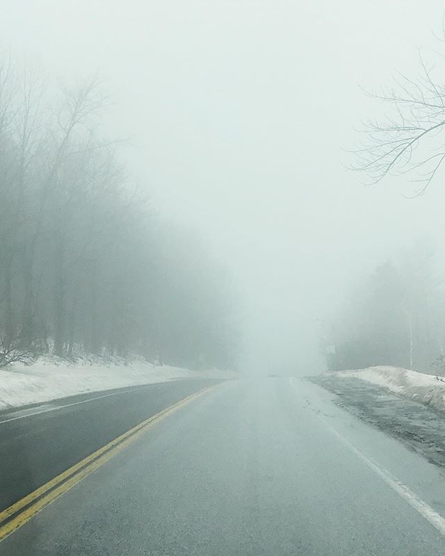 Foggy misty driving conditions along 100N in VT. 51/100 . . .