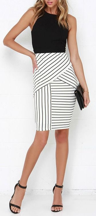 Kiss Cross Black and Ivory Striped Midi Dress