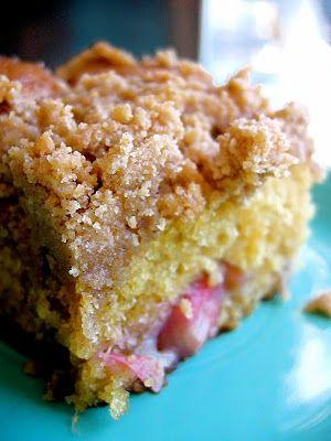 The Bojon Gourmet's Rhubarb Streusel Coffee Cake: tender cake, pockets of creamy rhubarb, and loads of brown sugar streusel