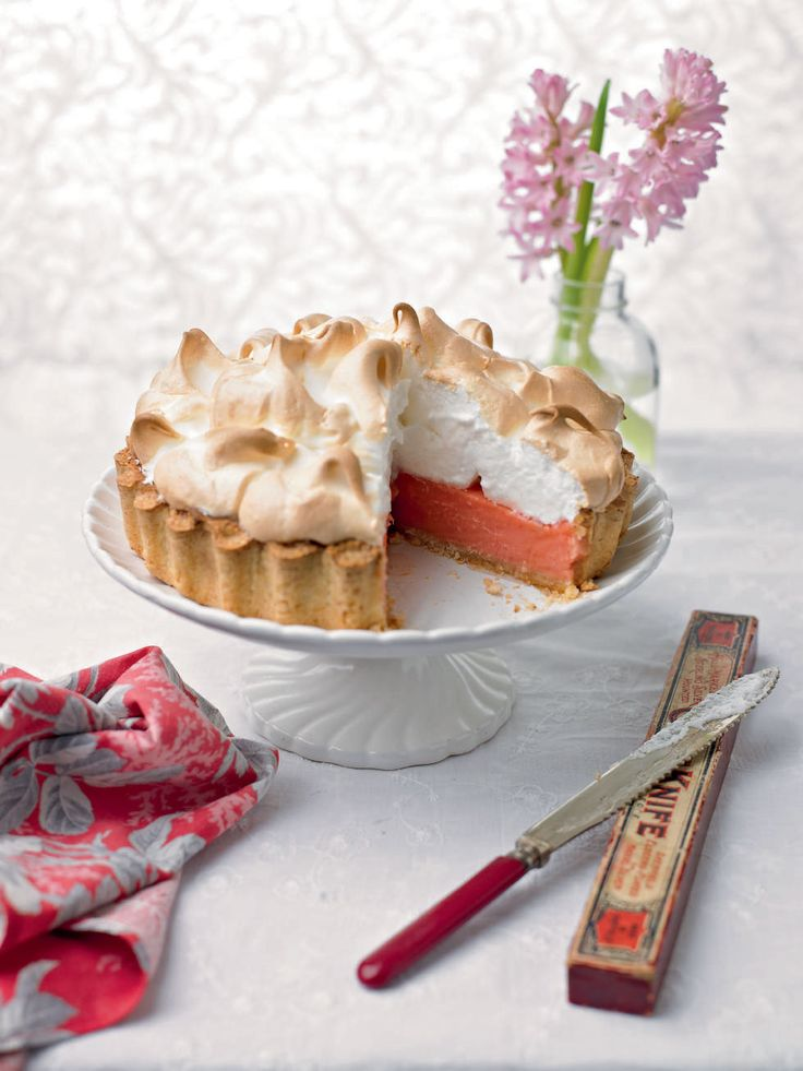 Bittersweet rhubarb is complemented by sweet, soft and fluffy meringue topping and toasted coconut in this gorgeous dessert recipe.