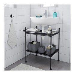 Hj Lmaren Wall Shelf Black Brown Pedestal Sink Storagebathroom