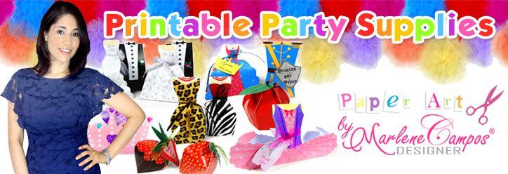 Party Supplies | Printable Party Supplies | Shop Party Supplies online | Artículos para Fiestas | by MarleneCampos.com