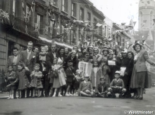 View of street party in Clarendon Crescent area celebration the Coronation of Queen Elizabeth II (1953)