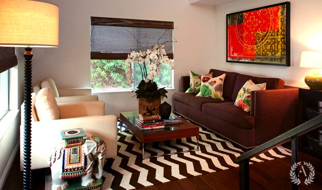 Brown Green Living Room Design With Chocolate Brown Sofa With White Piping West Elm Zig Zag