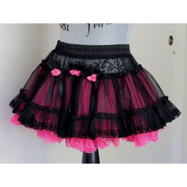 Black and Hot Pink Rockabilly MINI Tulle TUTU Petticoat FESTIVAL Skirt... ($24) ❤ liked on Polyvore featuring skirts and mini skirts