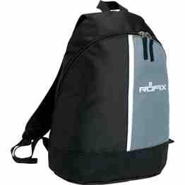 Large main compartment with double-zippered closure, Adjustable backpack strap with carry handle. 600 Denier Nylon