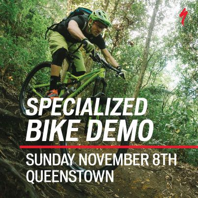 Specialized New Zealand are holding their Specialized Bike Demo day at 7 Mile Bike Park in Queenstown on Sunday 8th November from 9am-4pm. Bringing the latest Mountain Bikes from the 2016 Specialized range for you to try out. Read: https://www.outsidesports.co.nz/blog/post/122/specialized-bike-demo.html