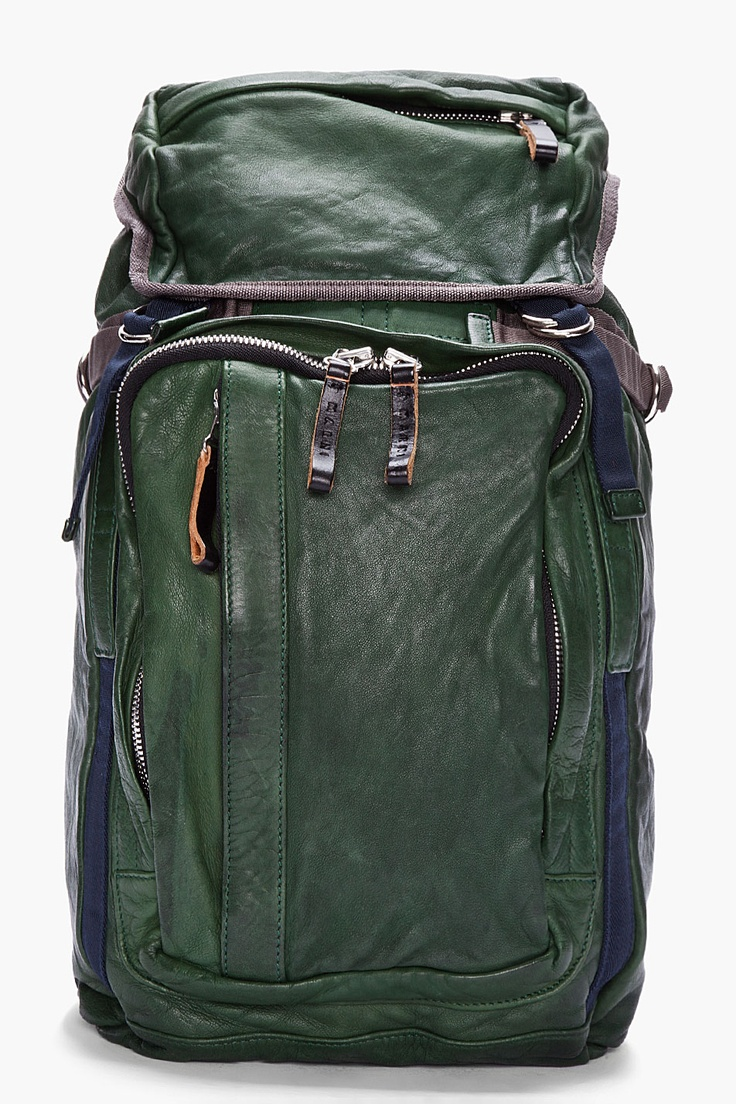 MARNI sea green leather drawstring Backpack