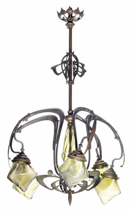 Art nouveau  five light chandelier, circa 1900, the tendril-like arms enhanced with berries and supporting five Loetz iridescent glass conical shades, 98cm high  |  upcoming auction 17 June 2015