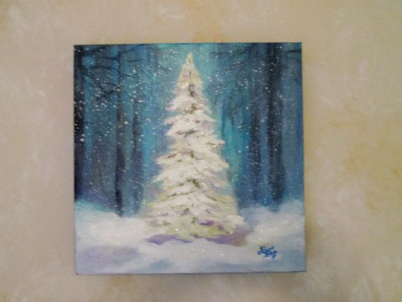 Christmas Tree Painting Original by Followthepaintedroad on Etsy