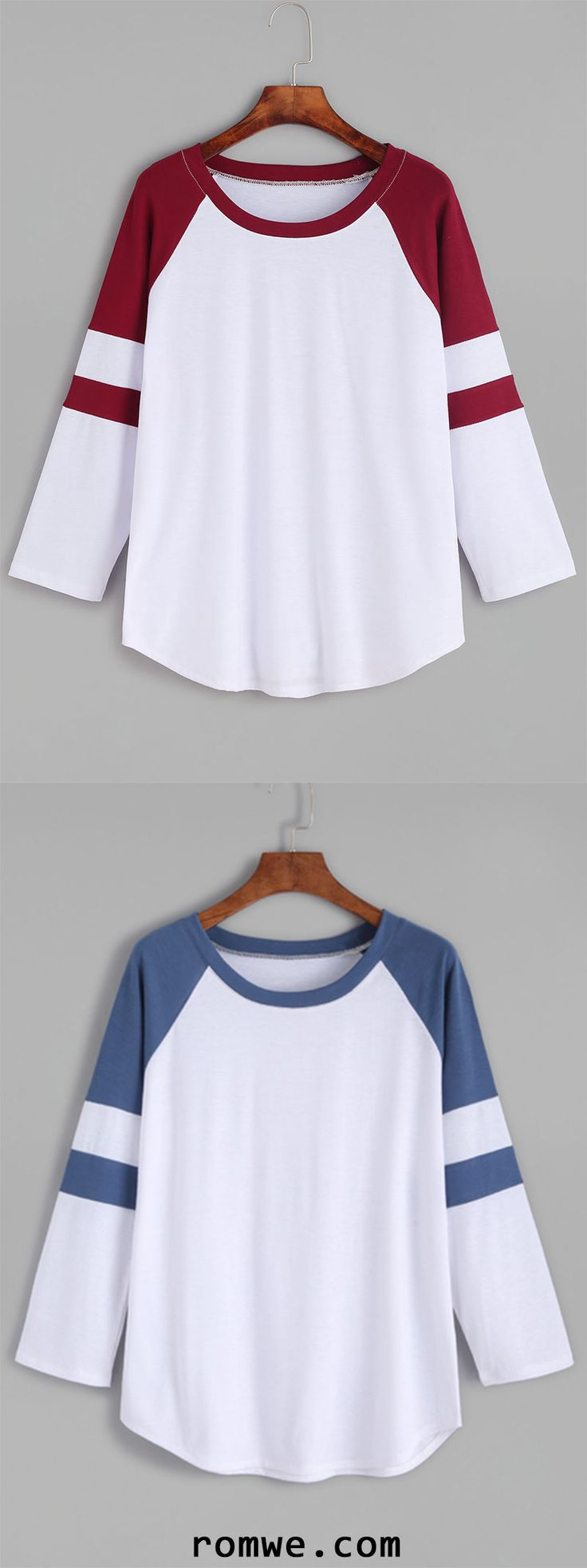 Color Block Raglan Sleeve T-shirt