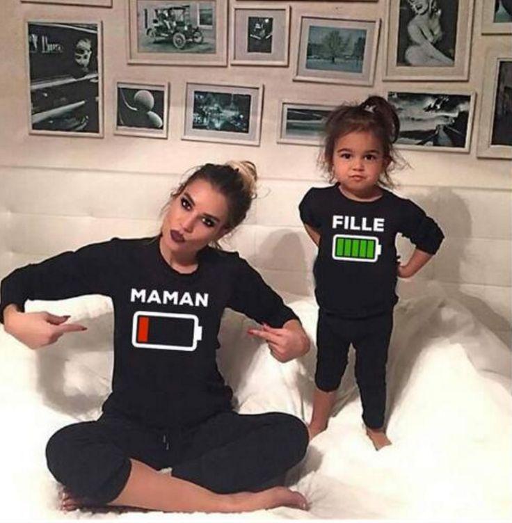 T-shirt assorti Maman enfant Batterie
