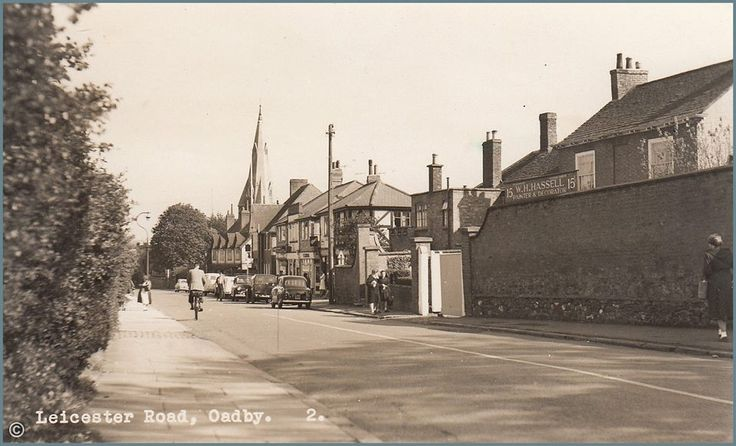 Leicester Road, Oadby ~ Postcard from the 1950s.
