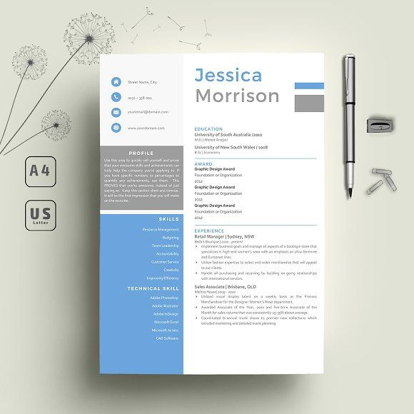 Word Resume & Cover letter Template by Indograph on @creativemarket