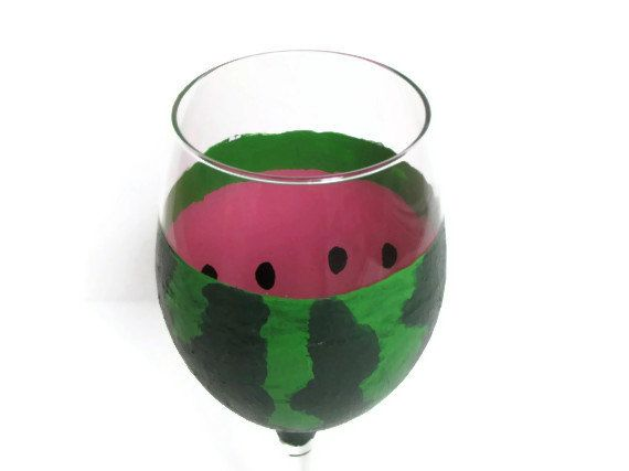 Hand painted wine glass painted wine glass watermelon wine glass custom painted wine glass spring wine glass summer wine glass wedding