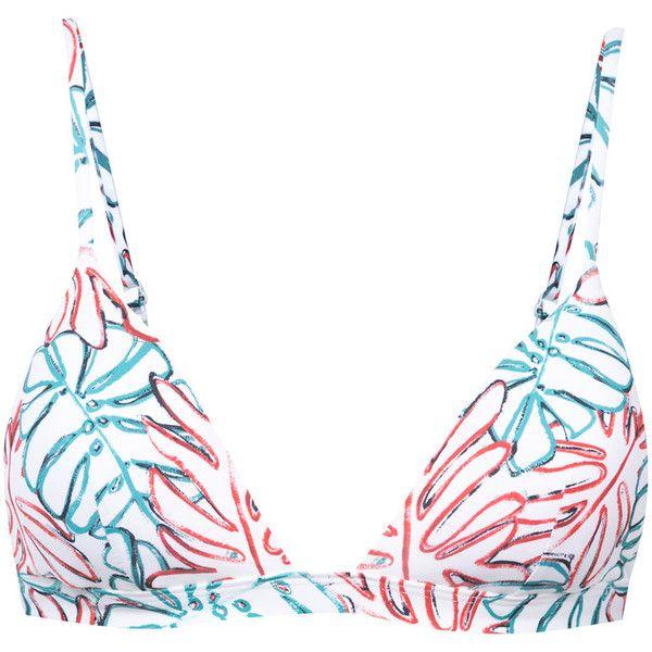 Onia Danni bikini top ($85) ❤ liked on Polyvore featuring swimwear, bikinis, bikini tops, bikini, white, multicolor bikini, multi color bikini, colorful swimwear, swim tops and white bikini