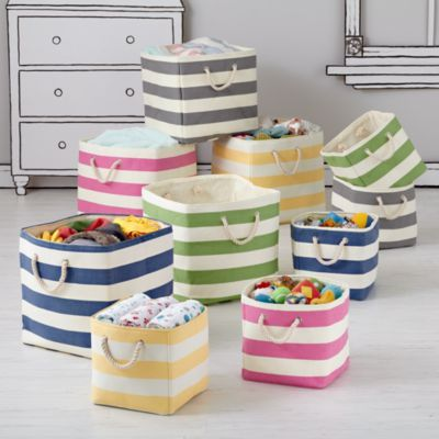 "Stripes Around the Storage Collection.  Land of Nod.  Floor bin is 16""Wx16""Dx16""H."