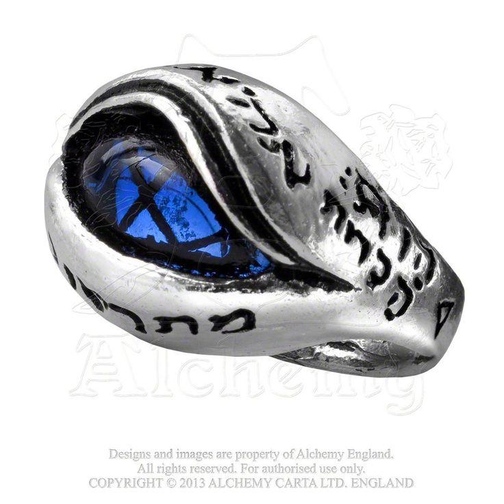 Angels Eye Deep Sapphire Blue Crystal Archangel Pewter Ring By Alchemy Gothic Size 7
