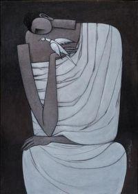 K.Koria contemporary paintings Ganesh female figure village life