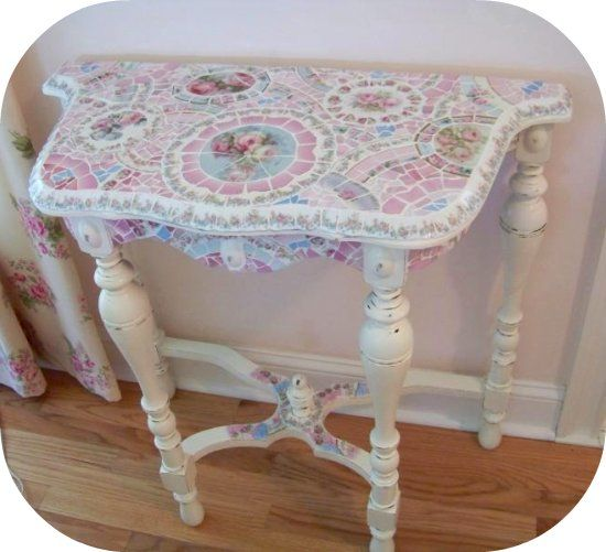 Mosaic Table, Shabby Mosaics, Chic Mosaic Table, Cottage Decor, Table, White