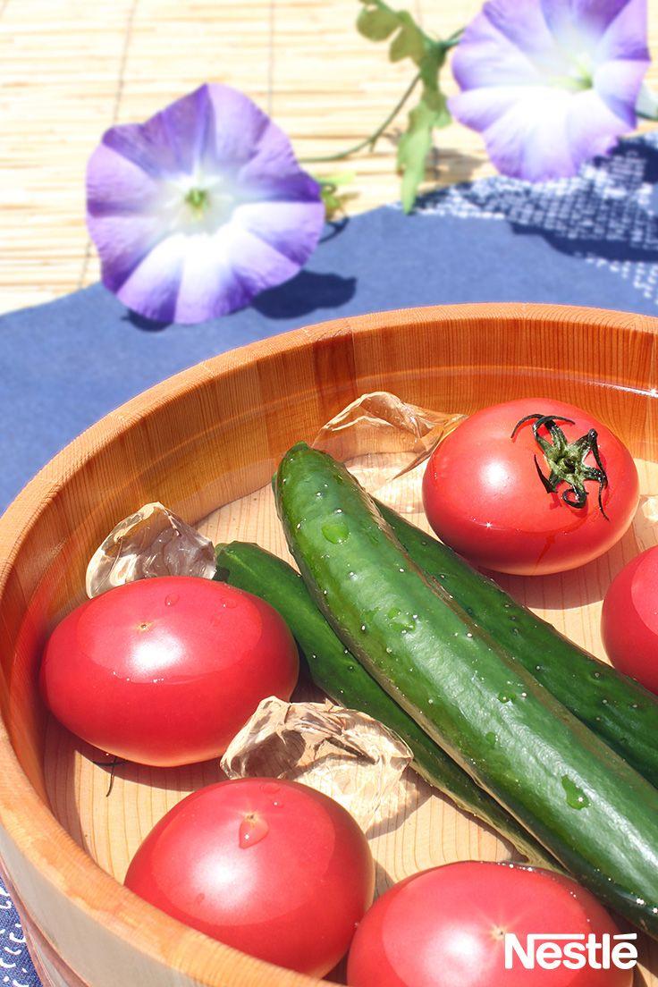 日本の夏/初夏/summer  毎日暑いですね。あさがおと冷やしたきゅうりとトマトをどうぞ♪