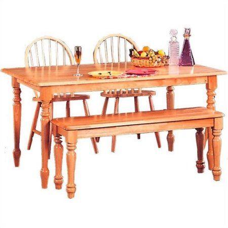 Coaster Damen Rectangular Leg Dining Table in Natural Wood Finish, Beige