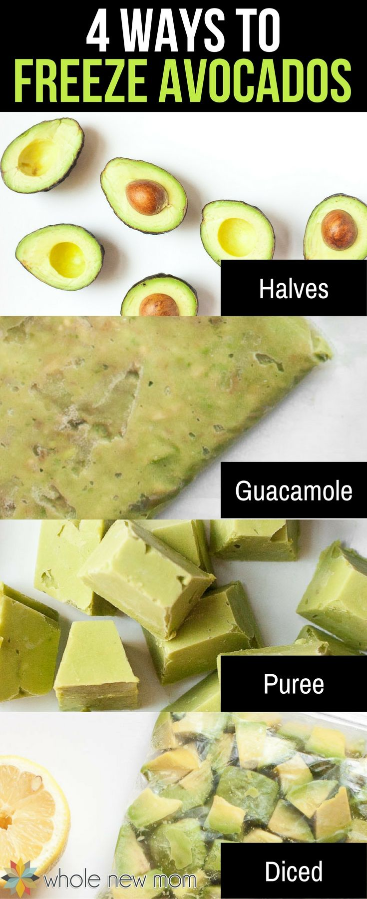 Did you know that freezing avocados seriously works? Here are 4 Ways to Freeze Avocados so you can save loads of money when they're on sale! via @wholenewmom