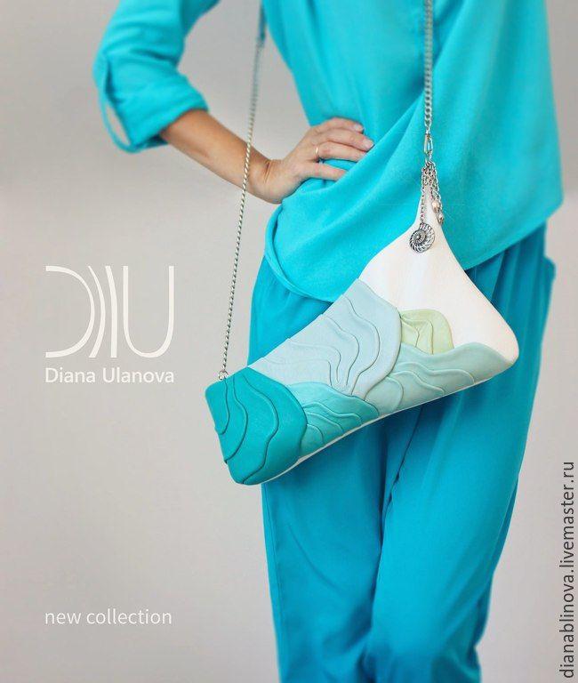 """Купить новая модель """"Море"""" - голубой, однотонный, необычная сумка, авторская сумочка"""