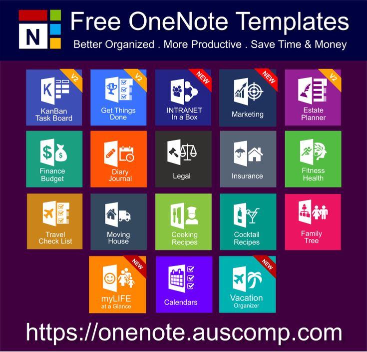 Medley of Free & Pro MS OneNote templates. KanBan, GTD